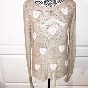 LC Lauren Conrad Heart Lurex Sweater SIZE SMALL